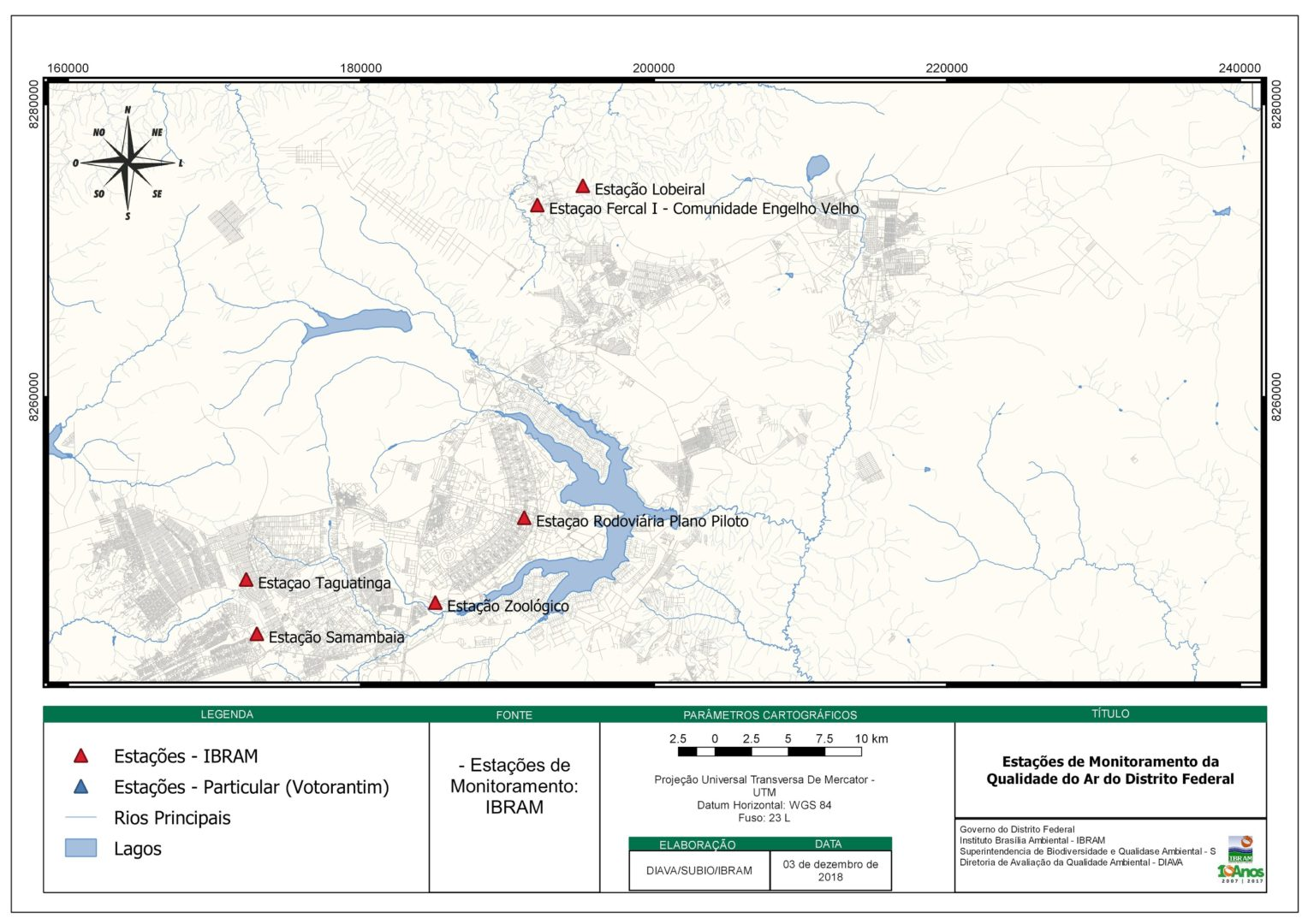 04d1c11f7d552 Localização dos pontos da rede de monitoramento da qualidade do ar no DF.